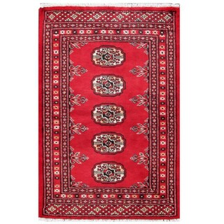 Herat Oriental Pakistani Hand-knotted Tribal Bokhara Red/ Black Wool Rug (2'1 x 3'2)