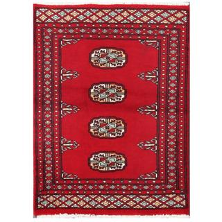 Herat Oriental Pakistani Hand-knotted Tribal Bokhara Red/ Black Wool Rug (2' x 2'10)