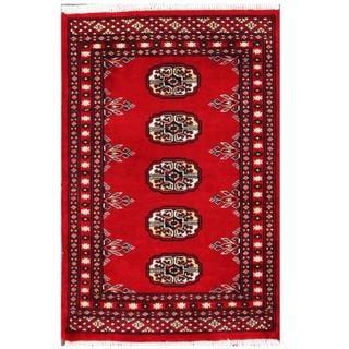 Herat Oriental Pakistani Hand-knotted Tribal Bokhara Red/ Black Wool Rug (2' x 3')