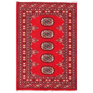 Herat Oriental Pakistani Hand-knotted Tribal Bokhara Red/ Black Wool Rug (2' x 3')