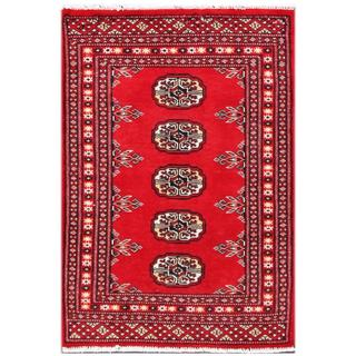 Herat Oriental Pakistani Hand-knotted Tribal Bokhara Red/ Black Wool Rug (2'1 x 3')