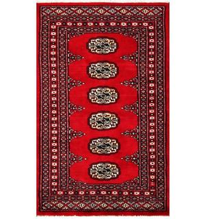 Herat Oriental Pakistani Hand-knotted Tribal Bokhara Red/ Black Wool Rug (2' x 3'2)