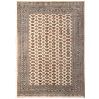 Herat Oriental Pakistani Hand-knotted Tribal Bokhara Beige/ Green Wool Rug (9'1 x 12'8)