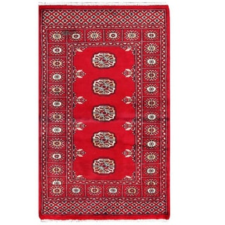 Herat Oriental Pakistani Hand-knotted Tribal Bokhara Red/ Black Wool Rug (2' x 3'2)