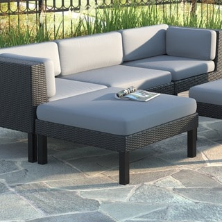 CorLiving Oakland Patio Ottoman in Textured Black Weave
