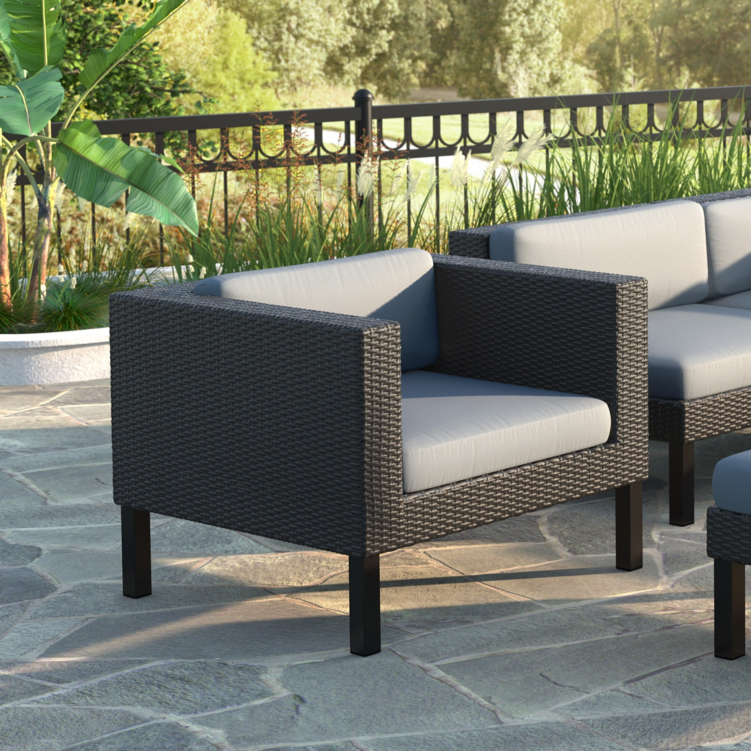 Brilliant Oakland Patio Chair In Textured Black Weave Dove Grey Cushions Machost Co Dining Chair Design Ideas Machostcouk