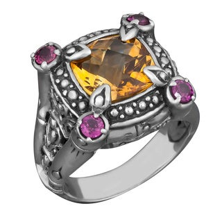 Handmade Silver Citrine and Rhodolite Tropical Forest Ring (Indonesia)