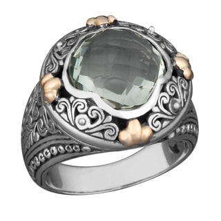 Handmade 18k Yellow Gold and Sterling Silver Prasiolite Floral Cawi Ring (Indonesia)