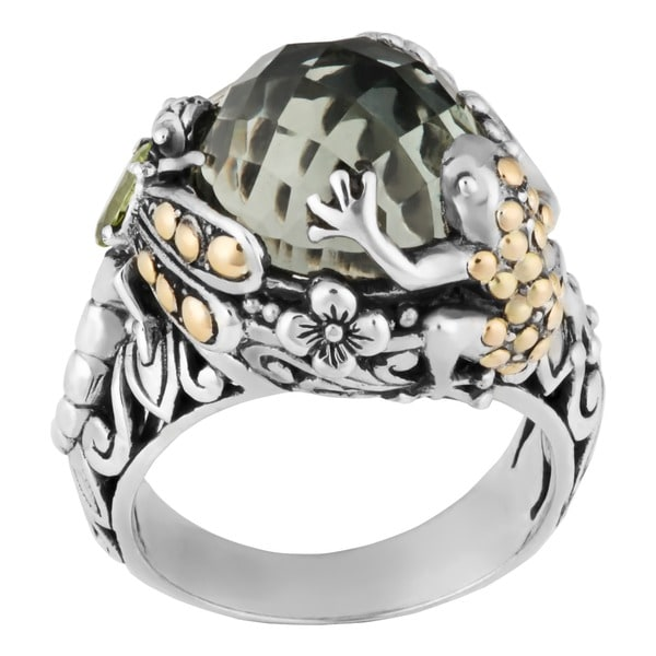 Handmade 18k Gold and Sterling Silver Prasiolite 'Tropical Frog Dragonfly' Ring (Indonesia)