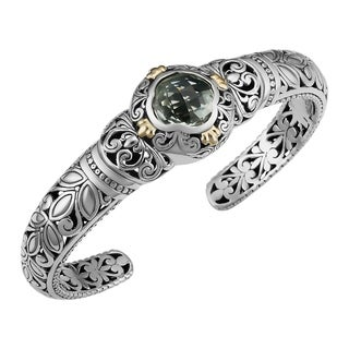 Handmade 18k Gold and Sterling Silver Prasiolite Floral Cawi Cuff Bracelet (Indonesia)