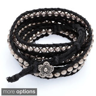 Handmade Five Wrap Bead and Braid Cord Bracelet (Thailand)