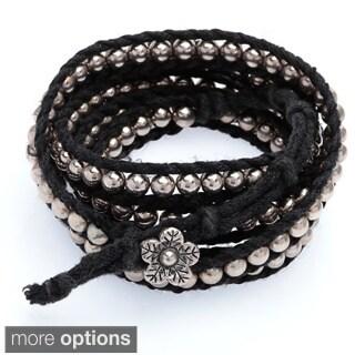 Handmade Five Wrap Bead and Braid Cord Bracelet (Thailand)