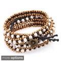 Handmade Five Wrap Gemstone/ Brass Beaded Bracelet (Thailand)