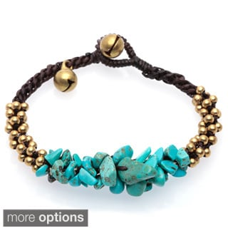 Handmade Gemstone Brass Bead Stackable Bracelet (Thailand)