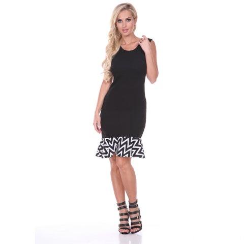 White Mark Women's Universal Slim Fit Ruffle-trim Shift Dress