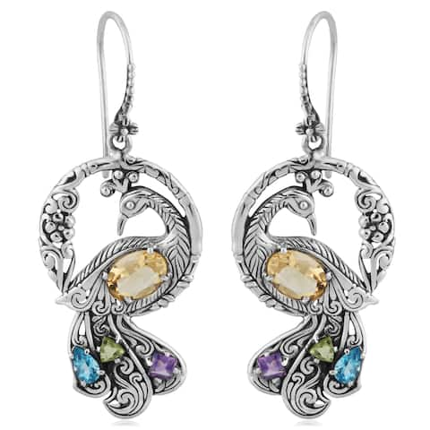 d2b527f0e Sterling Silver Citrine Multi Gemstone Peacock Earrings (Indonesia) - Yellow