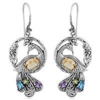 Handmade Sterling Silver Citrine Multi-stone 'Dancing Peacock' Earrings (Indonesia)