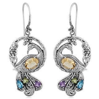 Sterling Silver Citrine Multi Gemstone Peacock Earrings (Indonesia) - Yellow