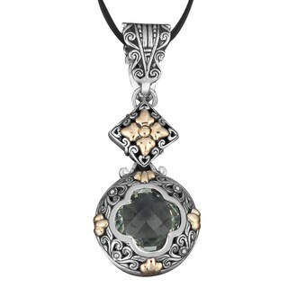 Handmade 18k Gold and Sterling Silver Green Amethyst 'Nature's Heart' Necklace (Indonesia)
