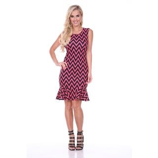 White Mark Women's Slim Fit Pink/ Black Chevron Print Ruffle-trim Dress