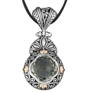 18k Yellow Gold and Sterling Silver Prasiolite 'Floral Cawi' Necklace (Indonesia)