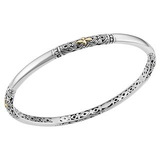 Handmade 18k Gold and Sterling Silver 'Balinese Flora' Bangle Bracelet (Indonesia)