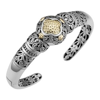 Handmade 18k Yellow Gold and Sterling Silver 'Tropical Garden' Cuff Bracelet (Indonesia)