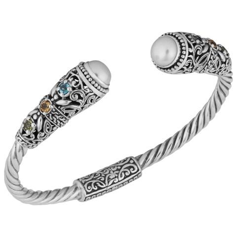 Handmade Silver Freshwater Pearl Gemstone Cuff Bracelet (Indonesia)