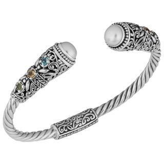 Handmade Sterling Silver 7.5 mm Freshwater Pearl Multi-gemstone 'Balinese Gust' Cuff Bracelet (Indonesia) https://ak1.ostkcdn.com/images/products/9108220/P16294521.jpg?impolicy=medium