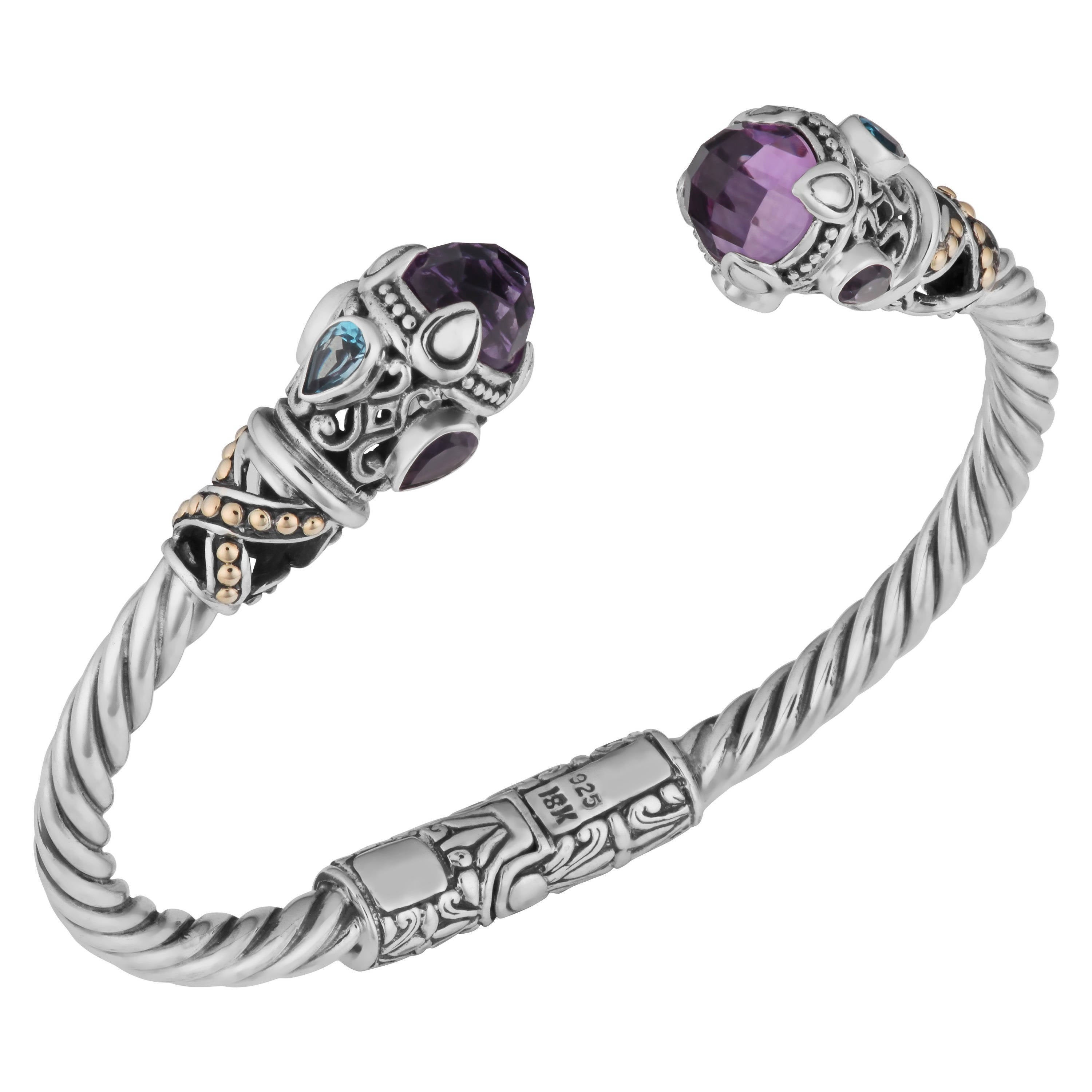 18k Yellow Gold and Sterling Silver Amethyst Multi-gemsto...