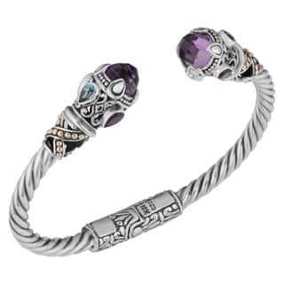 18k Yellow Gold and Sterling Silver Amethyst Multi-gemstone Cawi Cuff Bracelet (Indonesia)|https://ak1.ostkcdn.com/images/products/9108221/P16294522.jpg?impolicy=medium