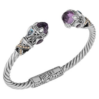 18k Yellow Gold and Sterling Silver Amethyst Multi-gemstone Cawi Cuff Bracelet (Indonesia)