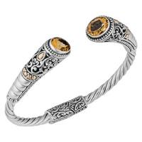 Handmade 18k Yellow Gold Sterling Silver Citrine 'Balinese Gust' Cuff Bracelet (Indonesia)