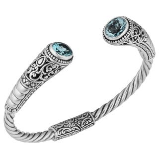 Handmade Blue Topaz Sterling Silver 'Balinese Gust' Cuff Bracelet (Indonesia)