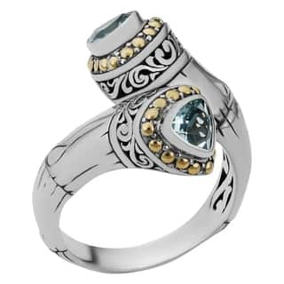 18k Yellow Gold and Sterling Silver Blue Topaz Sea Goddess Ring (Indonesia)|https://ak1.ostkcdn.com/images/products/9108268/P16294572.jpg?impolicy=medium