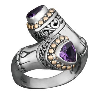 Handmade 18k Yellow Gold and Sterling Silver Amethyst 'Sea Goddess' Ring (Indonesia)