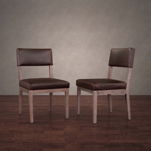 Shop Austin Vintage Tobacco Leather Dining Chairs Set Of
