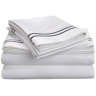 Superior 100-percent Premium Long-staple Combed Cotton 800 Thread Count Two-tone Embroidered Sheet Set