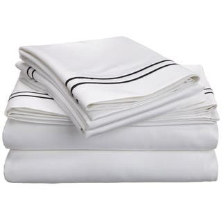 600 Thread Count 100% Cotton Embroidered Sheet & Pillowcase Sets with Dot  Pattern - White/Navy