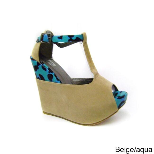 Aqua Wedge Sandals Women Size 8