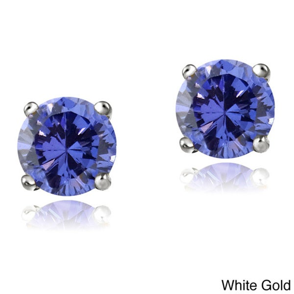 Glitzy Rocks 14k White or Yellow Gold 1/2ct TGW Tanzanite Round 4mm Stud Earrings