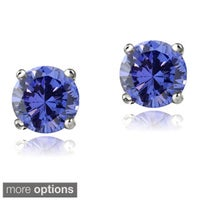 Glitzy Rocks 14k White Or Yellow Gold 1 2ct Tgw Tanzanite Round 4mm Stud Earrings