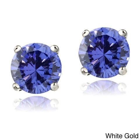 Glitzy Rocks 14k White or Yellow Gold 1ct Tanzanite Round 5mm Stud Earrings