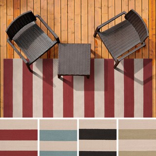 Hand-hooked Mandy Striped Casual Indoor/ Outdoor Area Rug - 3' x 5' (3 options available)