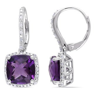 Miadora Sterling Silver Amethyst and 1/5ct TDW Diamond Earrings (H-I, I2-I3)