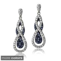DB Designs Silvertone 1/4ct TDW Black or Blue Diamond Intertwining Infinity Dangle Earrings