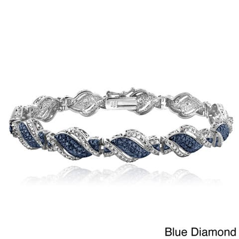 DB Designs Silvertone 1/4ct TDW Black or Blue and White Diamond Twist Bracelet