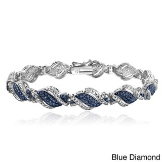 Link to DB Designs Silvertone 1/4ct TDW Black or Blue and White Diamond Twist Bracelet Similar Items in Men's Jewelry