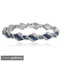 DB Designs Silvertone 1/4ct TDW Black or Blue and White Diamond Twist Bracelet