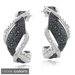DB Designs Silvertone 1/4ct TDW Black or Blue and White Diamond Twist Earrings (I-J, I2-I3)